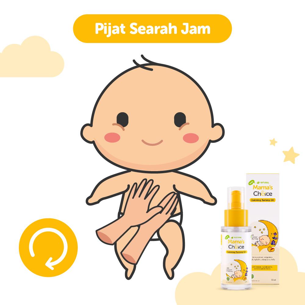 cara memijat bayi kolik dengan Mama's Choice calming tummy oil